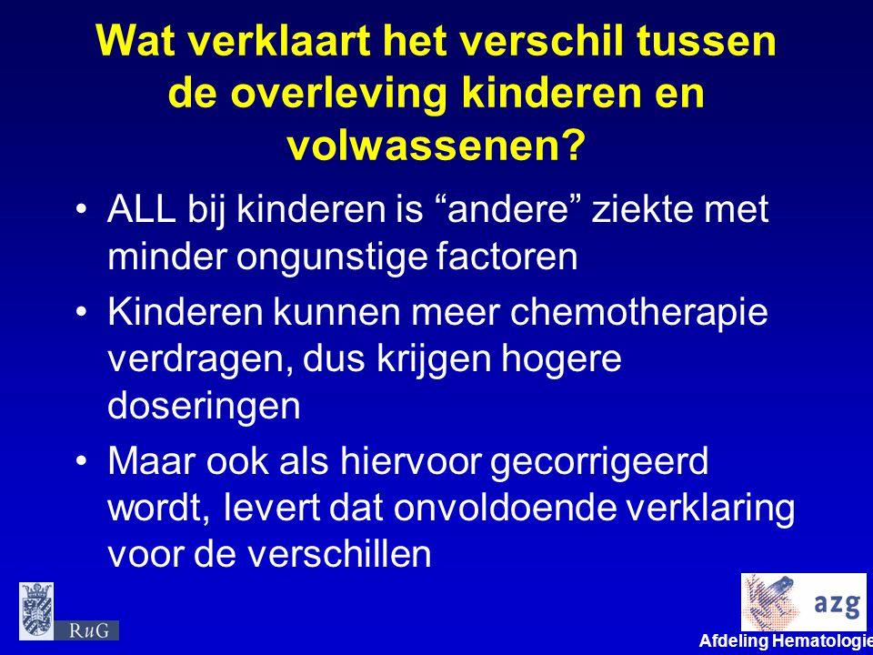 """Afdeling Hematologie umcg Wat verklaart het verschil tussen de overleving kinderen en volwassenen? •ALL bij kinderen is """"andere"""" ziekte met minder ong"""