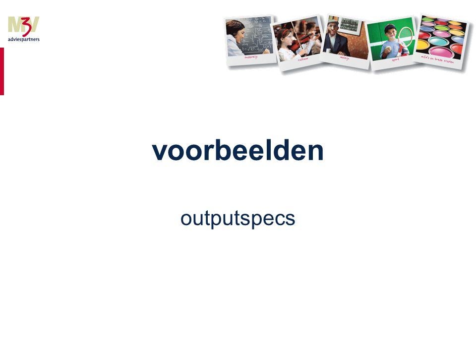 voorbeelden outputspecs
