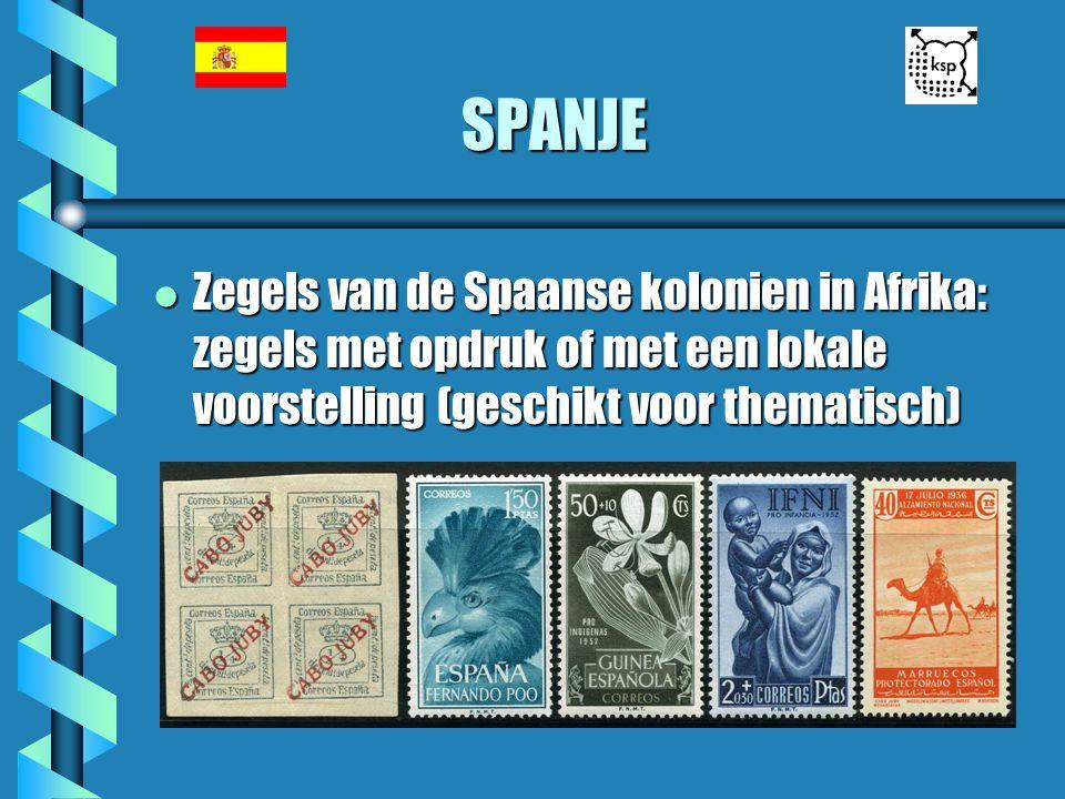 SPANJE l Zegels van de Spaanse kolonien in Afrika: zegels met opdruk of met een lokale voorstelling (geschikt voor thematisch)