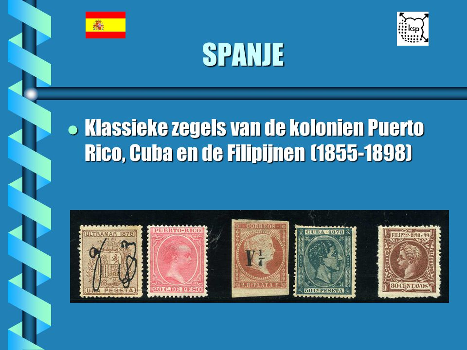 SPANJE l Klassieke zegels van de kolonien Puerto Rico, Cuba en de Filipijnen (1855-1898)