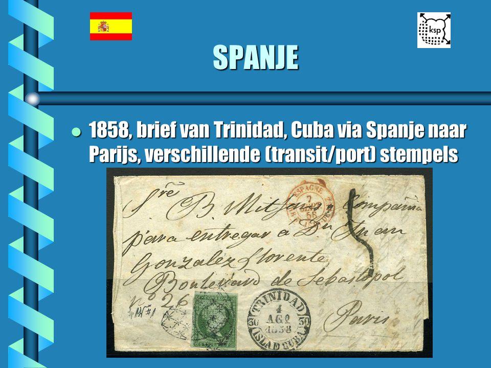 SPANJE l 1858, brief van Trinidad, Cuba via Spanje naar Parijs, verschillende (transit/port) stempels