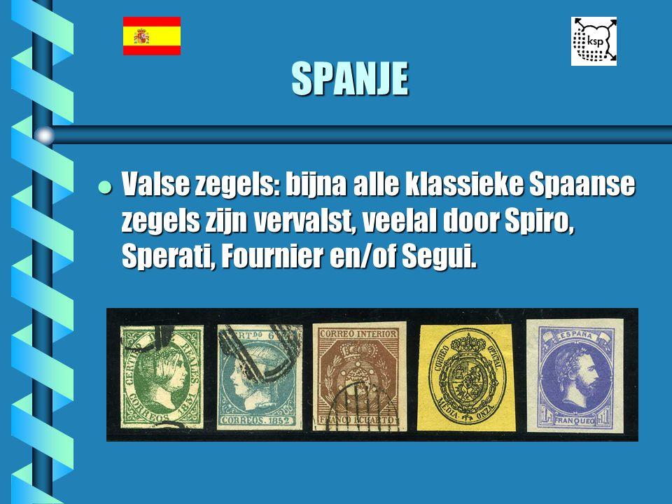 SPANJE l Valse zegels: bijna alle klassieke Spaanse zegels zijn vervalst, veelal door Spiro, Sperati, Fournier en/of Segui.