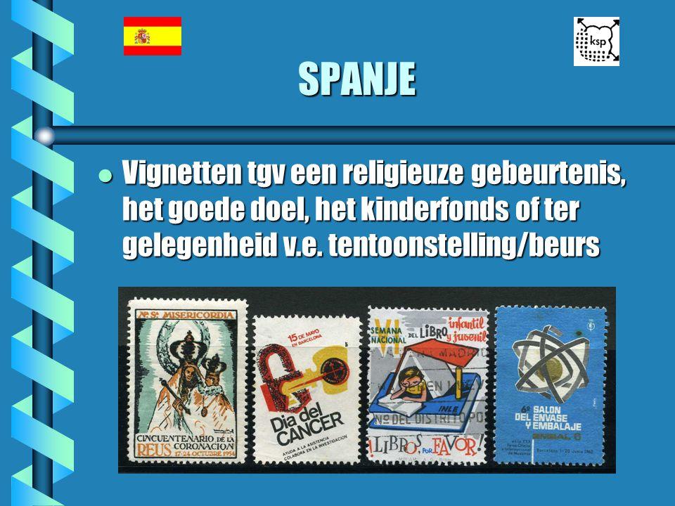 SPANJE l Vignetten tgv een religieuze gebeurtenis, het goede doel, het kinderfonds of ter gelegenheid v.e. tentoonstelling/beurs