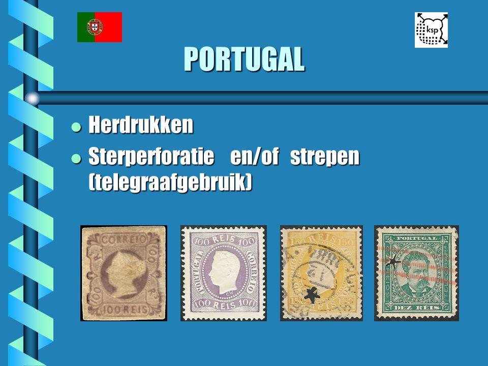 PORTUGAL l Herdrukken l Sterperforatie en/of strepen (telegraafgebruik)
