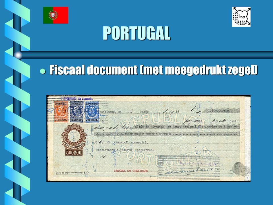 PORTUGAL l Fiscaal document (met meegedrukt zegel)