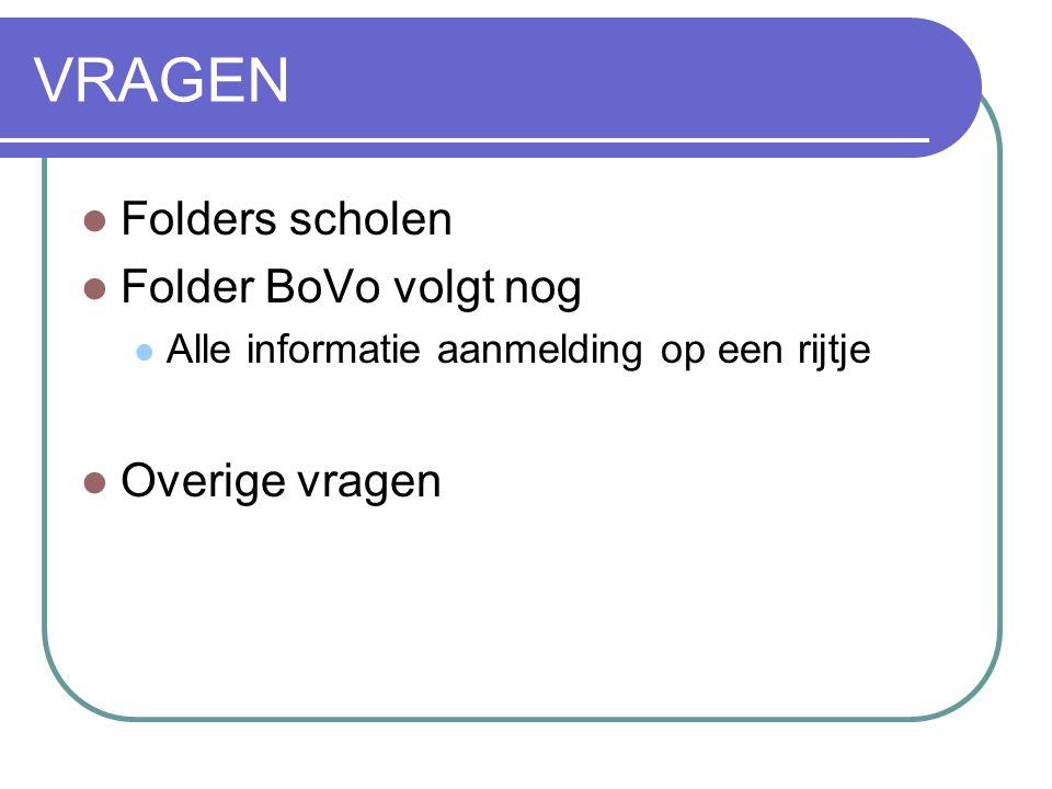 VRAGEN  Folders scholen  Folder BoVo volgt nog  Alle informatie aanmelding op een rijtje  Overige vragen