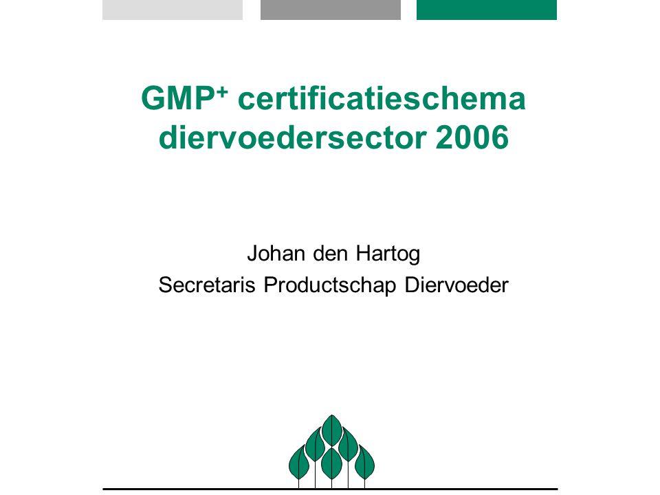 GMP + certificatieschema diervoedersector 2006 Johan den Hartog Secretaris Productschap Diervoeder