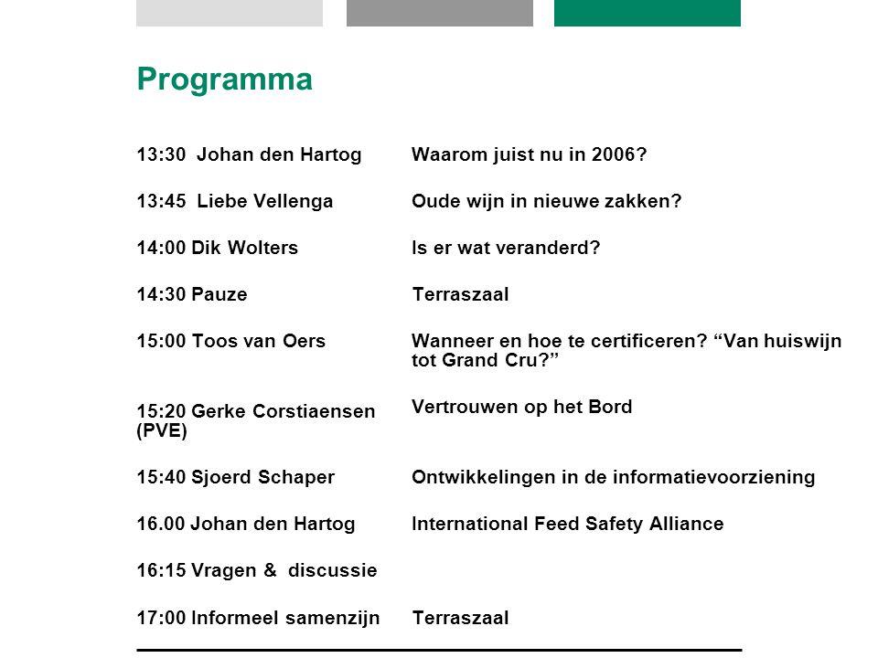 Programma 13:30 Johan den Hartog 13:45 Liebe Vellenga 14:00 Dik Wolters 14:30 Pauze 15:00 Toos van Oers 15:20 Gerke Corstiaensen (PVE) 15:40 Sjoerd Schaper 16.00 Johan den Hartog 16:15 Vragen & discussie 17:00 Informeel samenzijn Waarom juist nu in 2006.