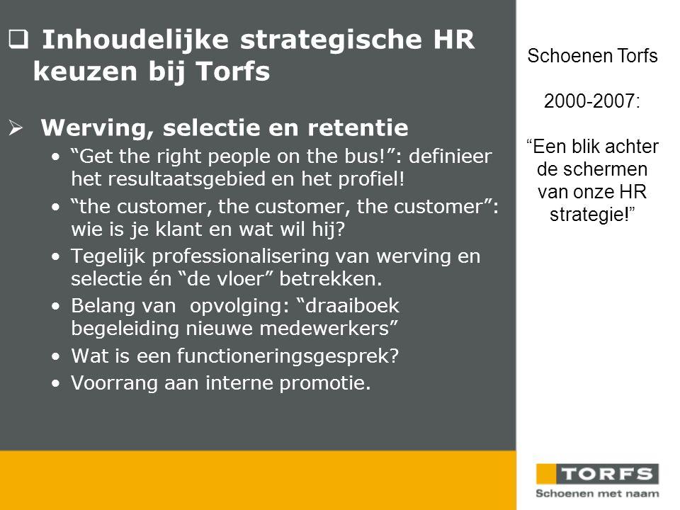  Inhoudelijke strategische HR keuzen bij Torfs  Werving, selectie en retentie • Get the right people on the bus! : definieer het resultaatsgebied en het profiel.