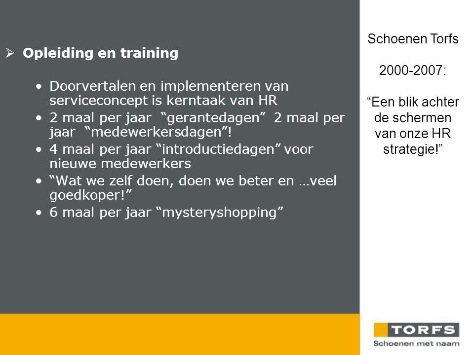  Opleiding en training •Doorvertalen en implementeren van serviceconcept is kerntaak van HR •2 maal per jaar gerantedagen 2 maal per jaar medewerkersdagen .