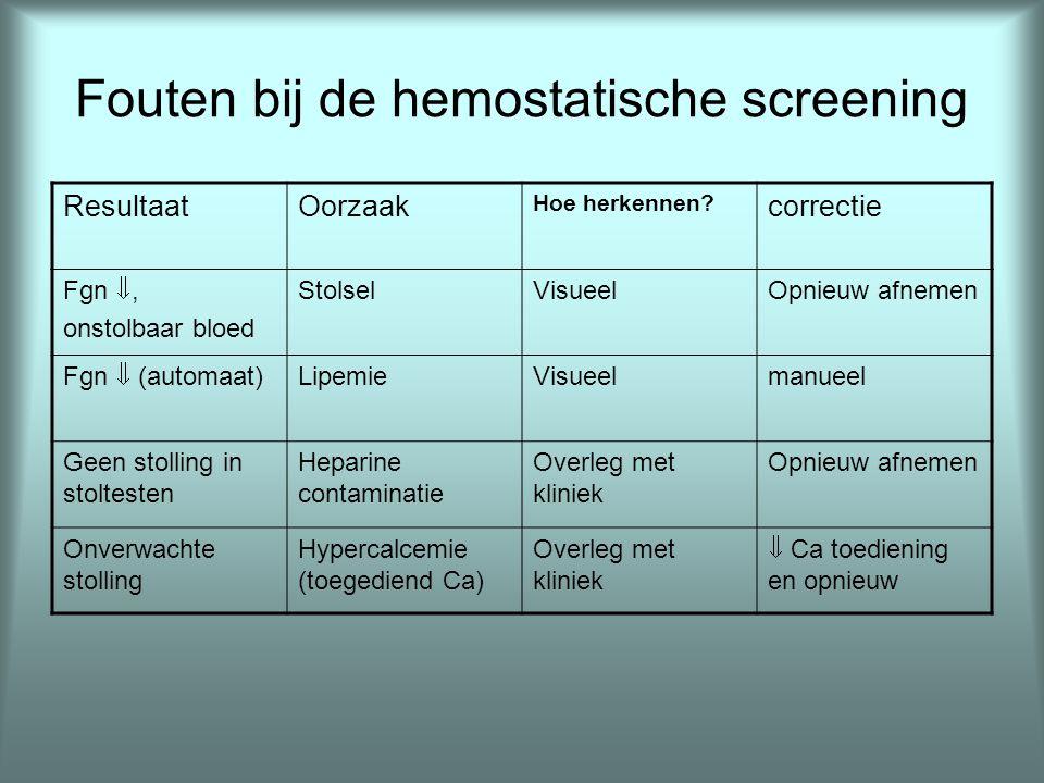 Fouten bij de hemostatische screening ResultaatOorzaak Hoe herkennen? correctie Fgn , onstolbaar bloed StolselVisueelOpnieuw afnemen Fgn  (automaat)