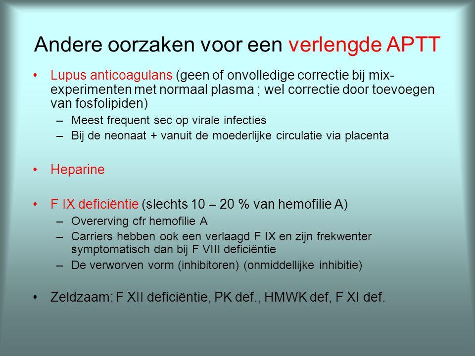 Andere oorzaken voor een verlengde APTT •Lupus anticoagulans (geen of onvolledige correctie bij mix- experimenten met normaal plasma ; wel correctie d