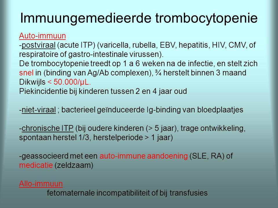 Immuungemedieerde trombocytopenie Auto-immuun -postviraal (acute ITP) (varicella, rubella, EBV, hepatitis, HIV, CMV, of respiratoire of gastro-intesti