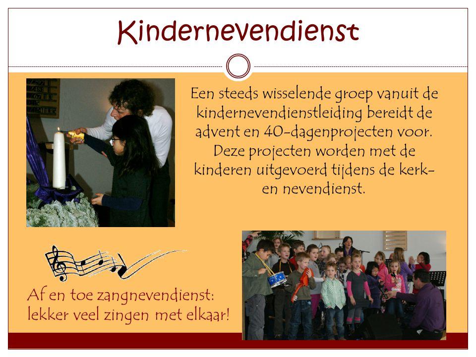 Kindernevendienst Af en toe zangnevendienst: lekker veel zingen met elkaar! Een steeds wisselende groep vanuit de kindernevendienstleiding bereidt de