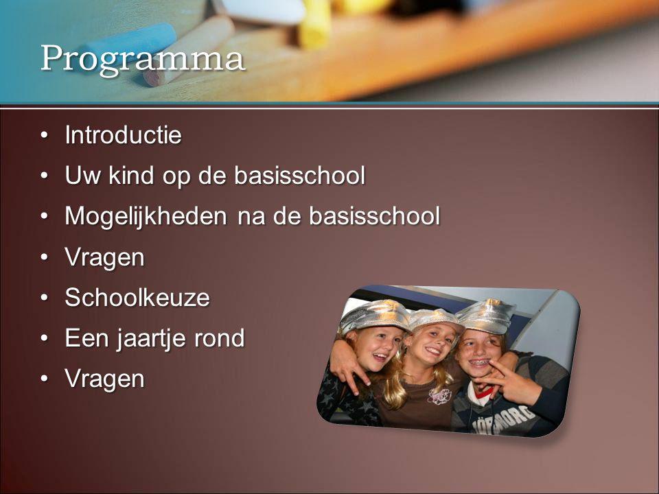 Programma •Introductie •Uw kind op de basisschool •Mogelijkheden na de basisschool •Vragen •Schoolkeuze •Een jaartje rond •Vragen