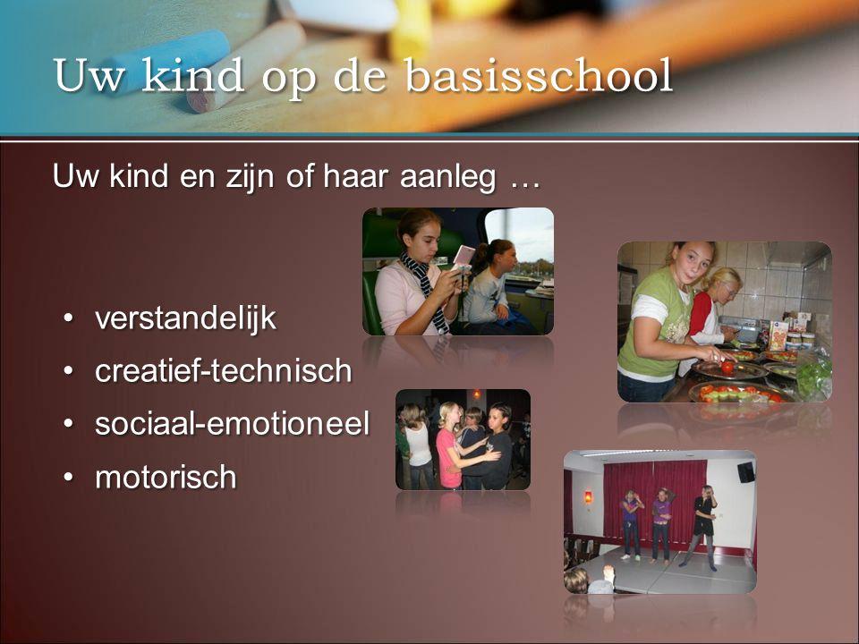Uw kind op de basisschool Uw kind en zijn of haar aanleg … •verstandelijk •creatief-technisch •sociaal-emotioneel •motorisch