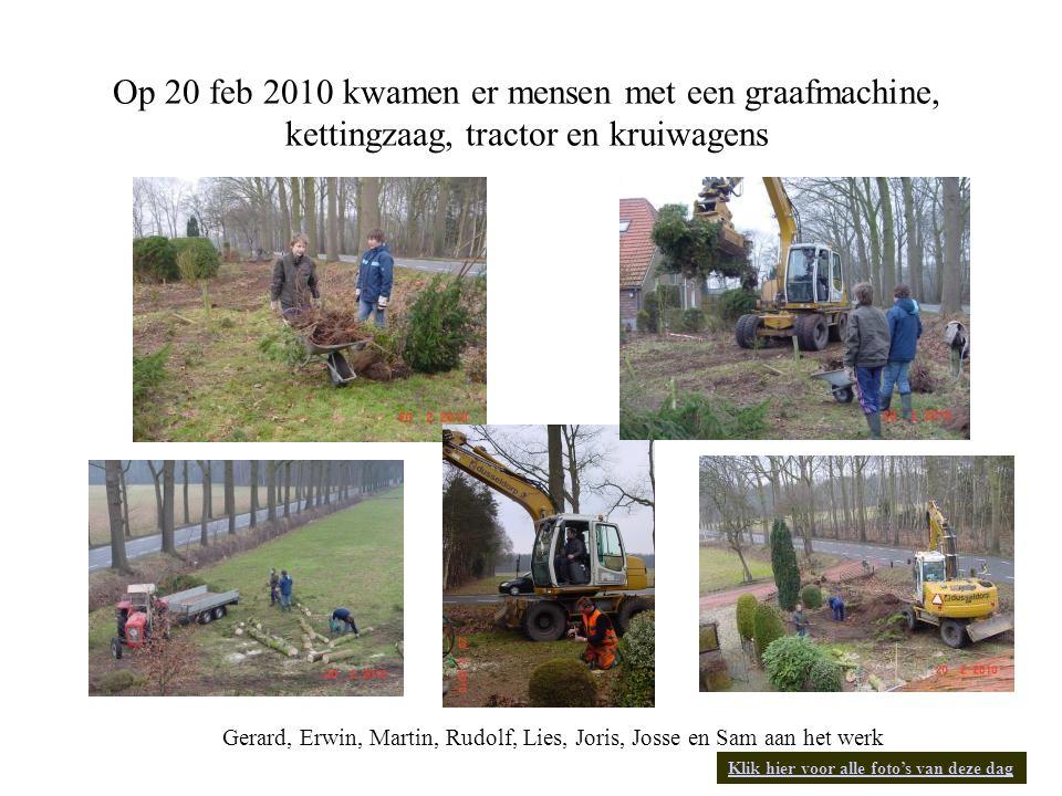 Gerard, Erwin, Martin, Rudolf, Lies, Joris, Josse en Sam aan het werk Op 20 feb 2010 kwamen er mensen met een graafmachine, kettingzaag, tractor en kruiwagens Klik hier voor alle foto's van deze dag