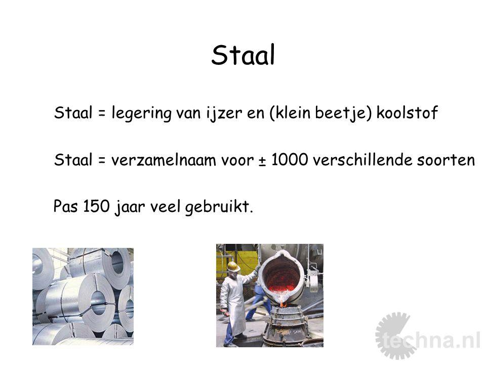 Staal Staal = legering van ijzer en (klein beetje) koolstof Staal = verzamelnaam voor ± 1000 verschillende soorten Pas 150 jaar veel gebruikt.