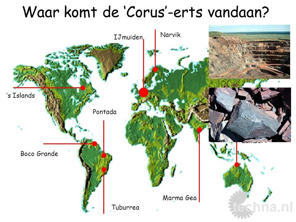 Waar komt de 'Corus'-erts vandaan? IJmuiden Narvik Marma Gea Cape Lambert Tuburrea Boco Grande 's Islands Pontada