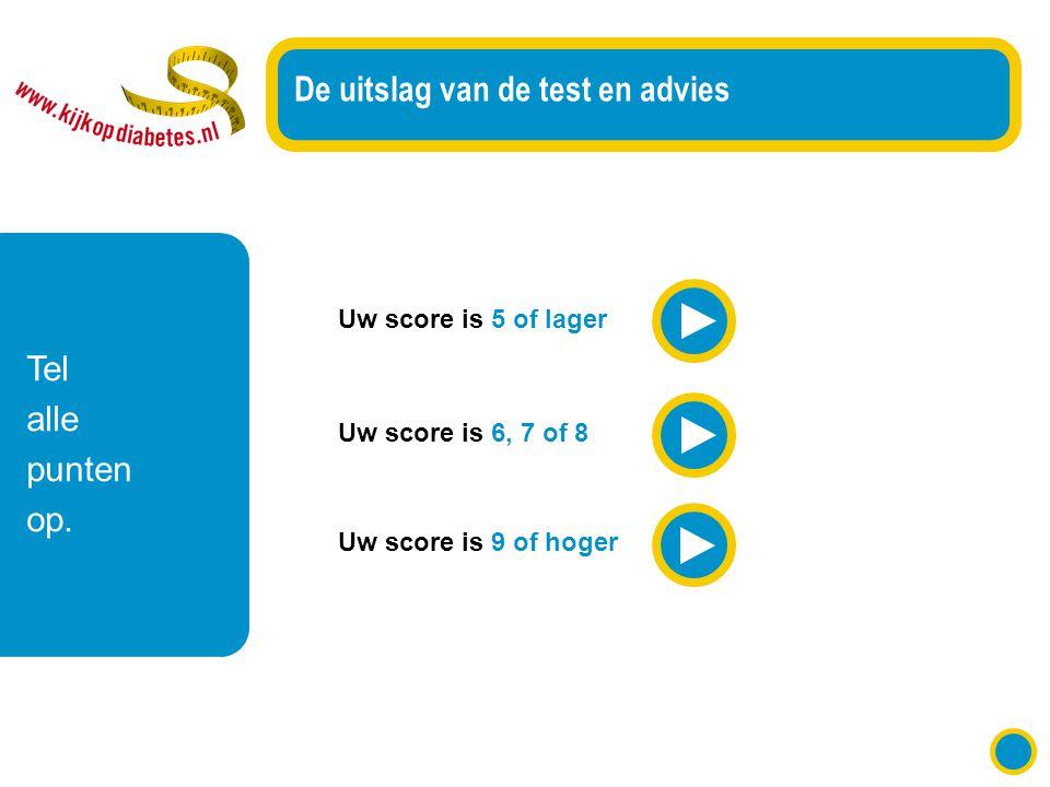 Uw score is 5 of lager De uitslag van de test en advies Uw score is 6, 7 of 8 Uw score is 9 of hoger Tel alle punten op.