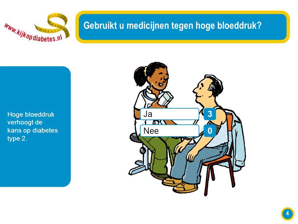 4 Gebruikt u medicijnen tegen hoge bloeddruk? Hoge bloeddruk verhoogt de kans op diabetes type 2. Ja Nee 3 0