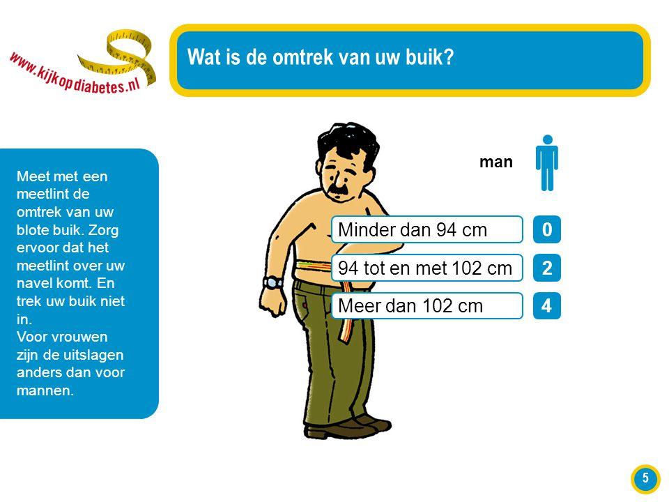 5 Wat is de omtrek van uw buik? Meet met een meetlint de omtrek van uw blote buik. Zorg ervoor dat het meetlint over uw navel komt. En trek uw buik ni