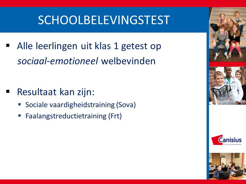 SCHOOLBELEVINGSTEST  Alle leerlingen uit klas 1 getest op sociaal-emotioneel welbevinden  Resultaat kan zijn:  Sociale vaardigheidstraining (Sova)