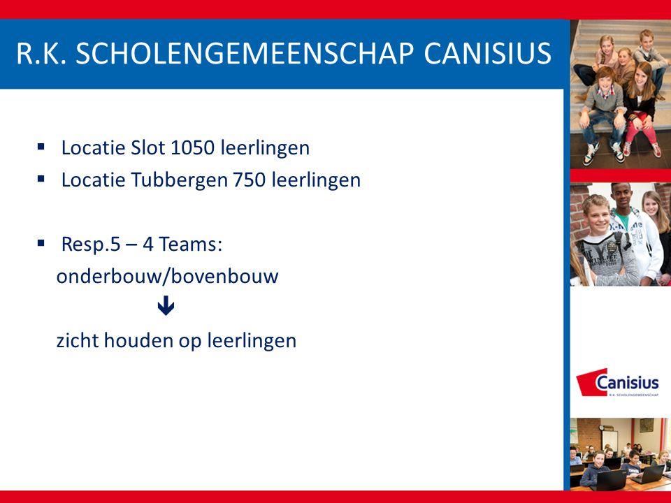  Locatie Slot 1050 leerlingen  Locatie Tubbergen 750 leerlingen  Resp.5 – 4 Teams: onderbouw/bovenbouw  zicht houden op leerlingen R.K. SCHOLENGEM