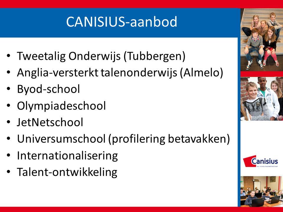 CANISIUS-aanbod • Tweetalig Onderwijs (Tubbergen) • Anglia-versterkt talenonderwijs (Almelo) • Byod-school • Olympiadeschool • JetNetschool • Universu
