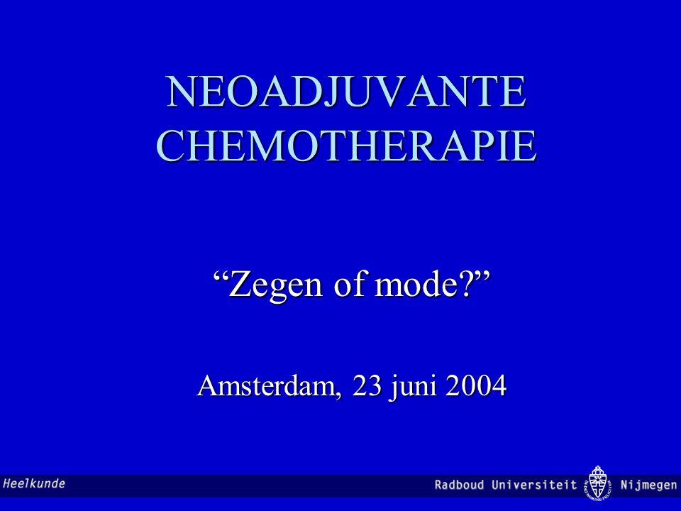 Borstsparende behandeling na neo-adjuvante chemotherapie Dit soort resultaten is gefundenes Fressen voor de internist-oncoloog Maar er is meer!