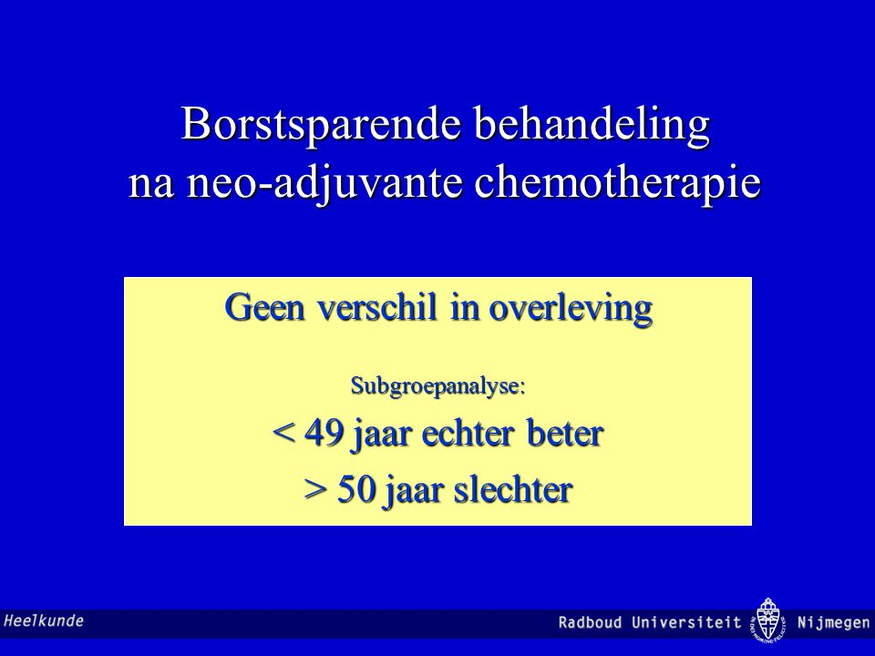 Borstsparende behandeling na neo-adjuvante chemotherapie Geen verschil in overleving Subgroepanalyse: < 49 jaar echter beter > 50 jaar slechter