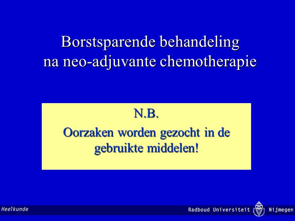 Borstsparende behandeling na neo-adjuvante chemotherapie N.B. Oorzaken worden gezocht in de gebruikte middelen!
