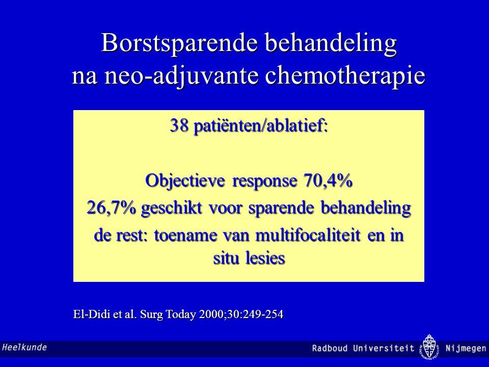 Borstsparende behandeling na neo-adjuvante chemotherapie 38 patiënten/ablatief: Objectieve response 70,4% 26,7% geschikt voor sparende behandeling de