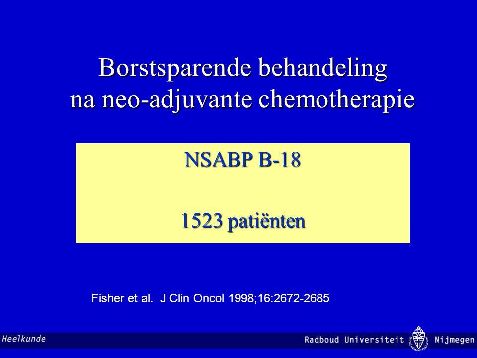 Borstsparende behandeling na neo-adjuvante chemotherapie Patroon van kleiner worden op basis van 3D-MRI (25 pat.) concentrisch 48 % borstsparend dendritisch 52% ablatief Nakamura et al.