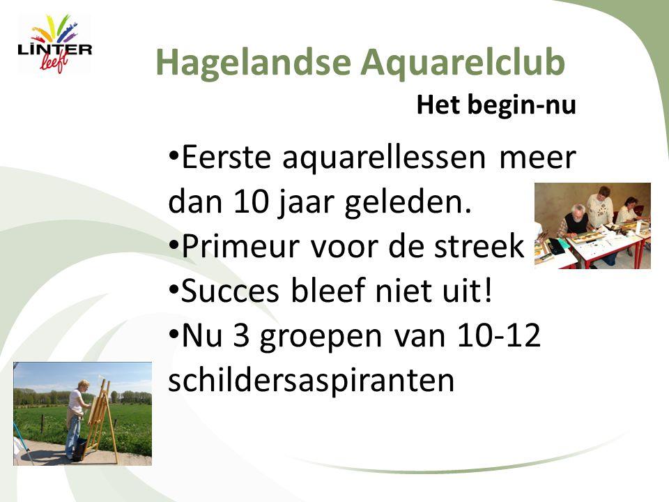 Hagelandse Aquarelclub Het begin-nu • Eerste aquarellessen meer dan 10 jaar geleden. • Primeur voor de streek • Succes bleef niet uit! • Nu 3 groepen