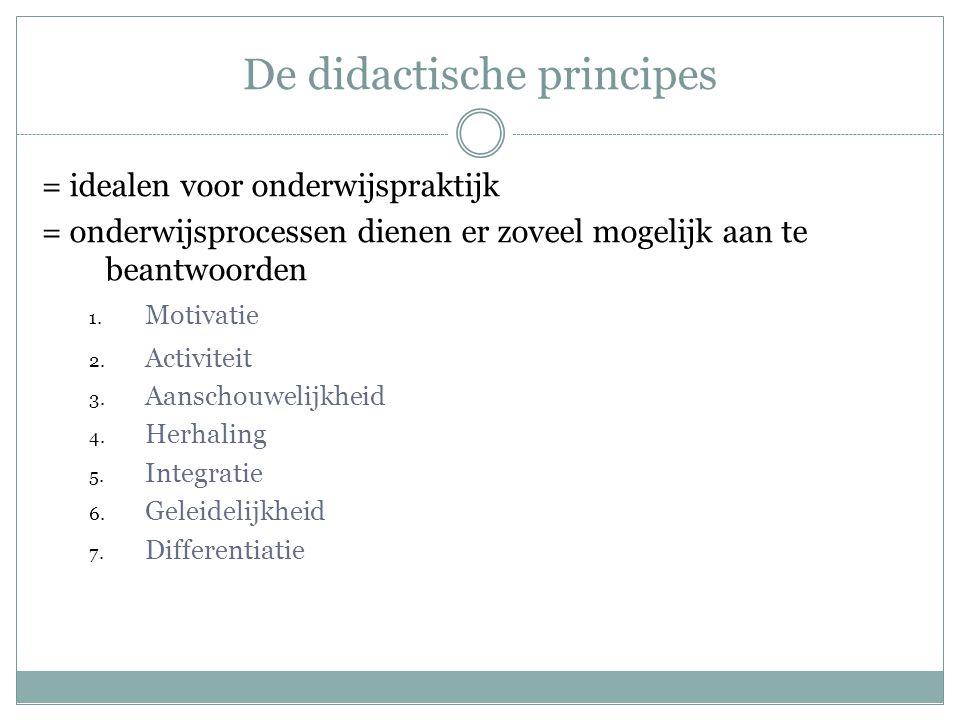 De didactische principes = idealen voor onderwijspraktijk = onderwijsprocessen dienen er zoveel mogelijk aan te beantwoorden 1. Motivatie 2. Activitei
