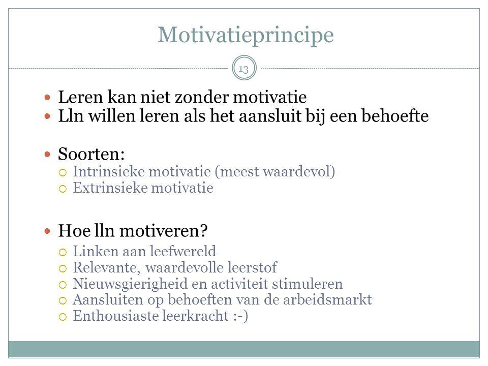 Motivatieprincipe  Leren kan niet zonder motivatie  Lln willen leren als het aansluit bij een behoefte  Soorten:  Intrinsieke motivatie (meest waa
