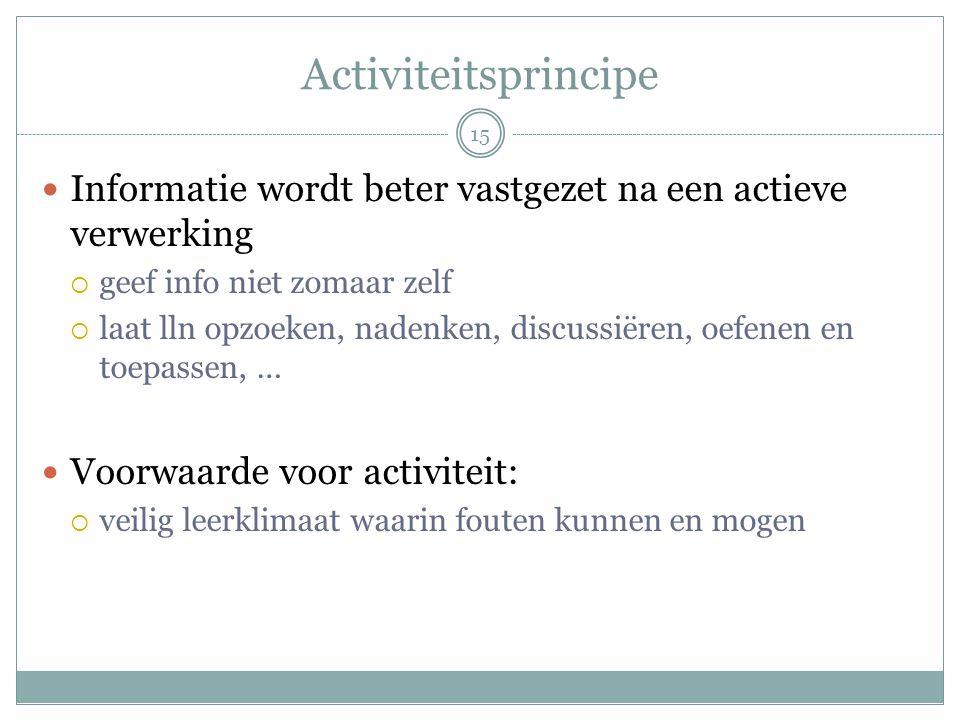 Activiteitsprincipe  Informatie wordt beter vastgezet na een actieve verwerking  geef info niet zomaar zelf  laat lln opzoeken, nadenken, discussië