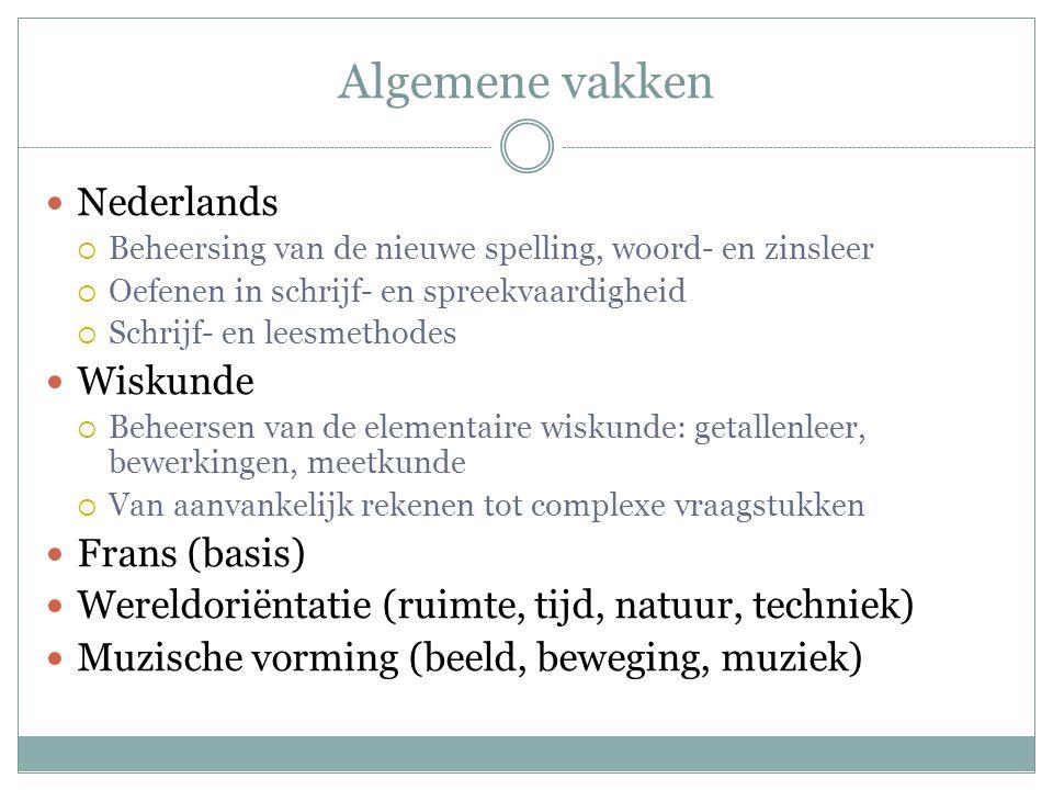 Algemene vakken  Nederlands  Beheersing van de nieuwe spelling, woord- en zinsleer  Oefenen in schrijf- en spreekvaardigheid  Schrijf- en leesmeth