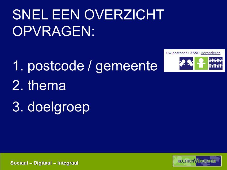 Sociaal – Digitaal – Integraal 1. postcode / gemeente 2. thema 3. doelgroep SNEL EEN OVERZICHT OPVRAGEN: