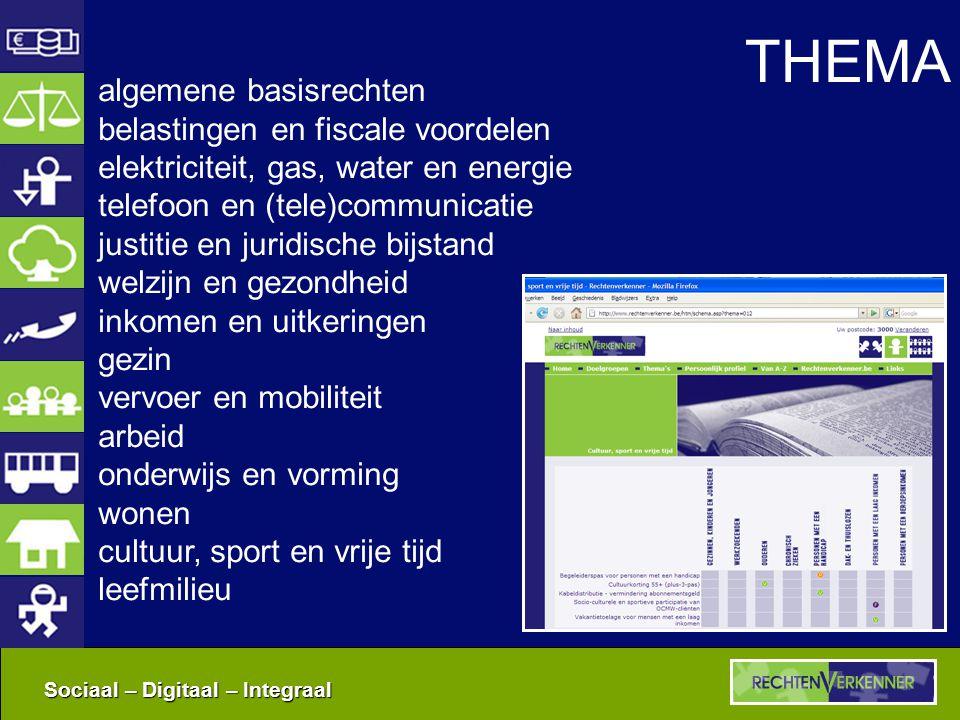Sociaal – Digitaal – Integraal THEMA algemene basisrechten belastingen en fiscale voordelen elektriciteit, gas, water en energie telefoon en (tele)com