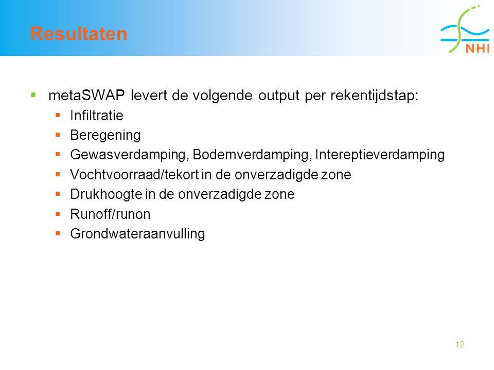 12 Resultaten  metaSWAP levert de volgende output per rekentijdstap:  Infiltratie  Beregening  Gewasverdamping, Bodemverdamping, Intereptieverdamp