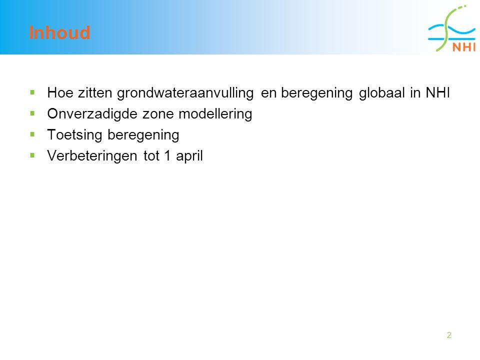 2 Inhoud  Hoe zitten grondwateraanvulling en beregening globaal in NHI  Onverzadigde zone modellering  Toetsing beregening  Verbeteringen tot 1 ap