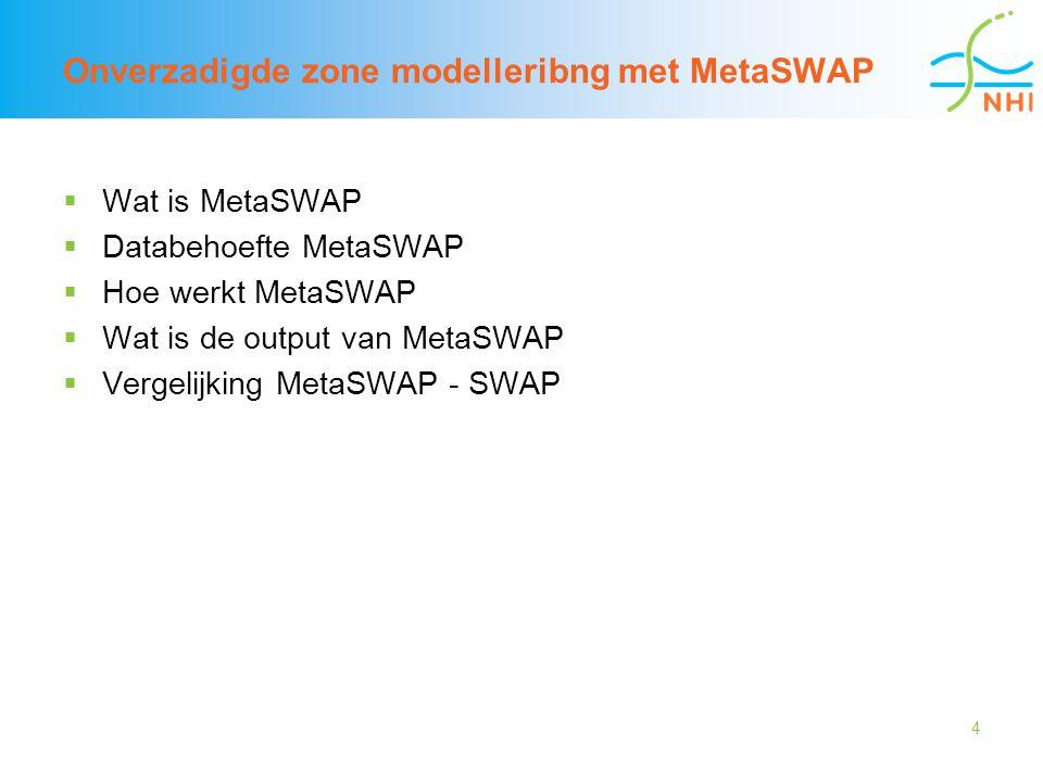 5 Wat is metaSWAP  Opgeschaalde SWAP  Domein: alleen onverzadigde zone, geen overlap met grondwaterdomein  Tabellen met uitkomsten SWAP (stationair) worden gebruikt om de relaties tussen grondwaterstand, drukhoogte, flux en berging in de onverzadigde zone vast te leggen