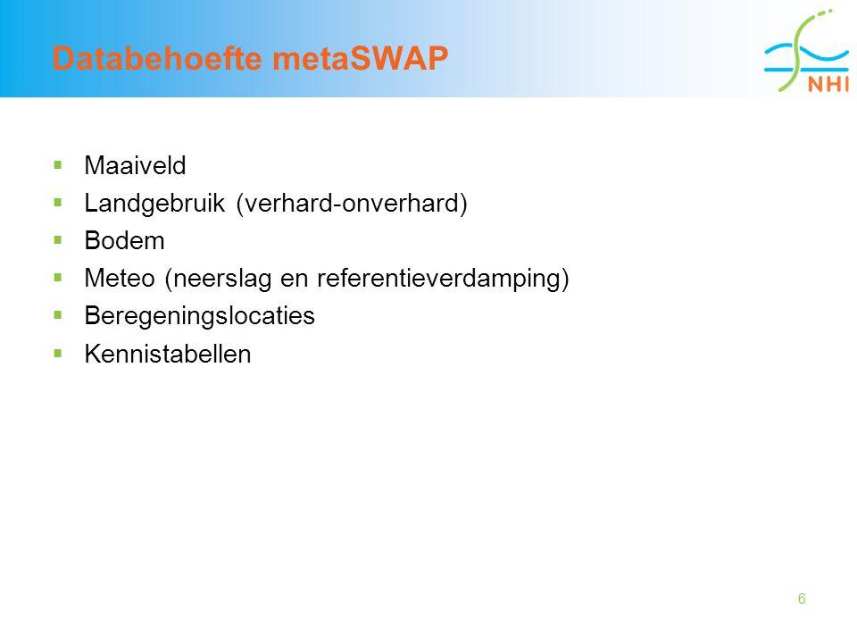 6 Databehoefte metaSWAP  Maaiveld  Landgebruik (verhard-onverhard)  Bodem  Meteo (neerslag en referentieverdamping)  Beregeningslocaties  Kennis