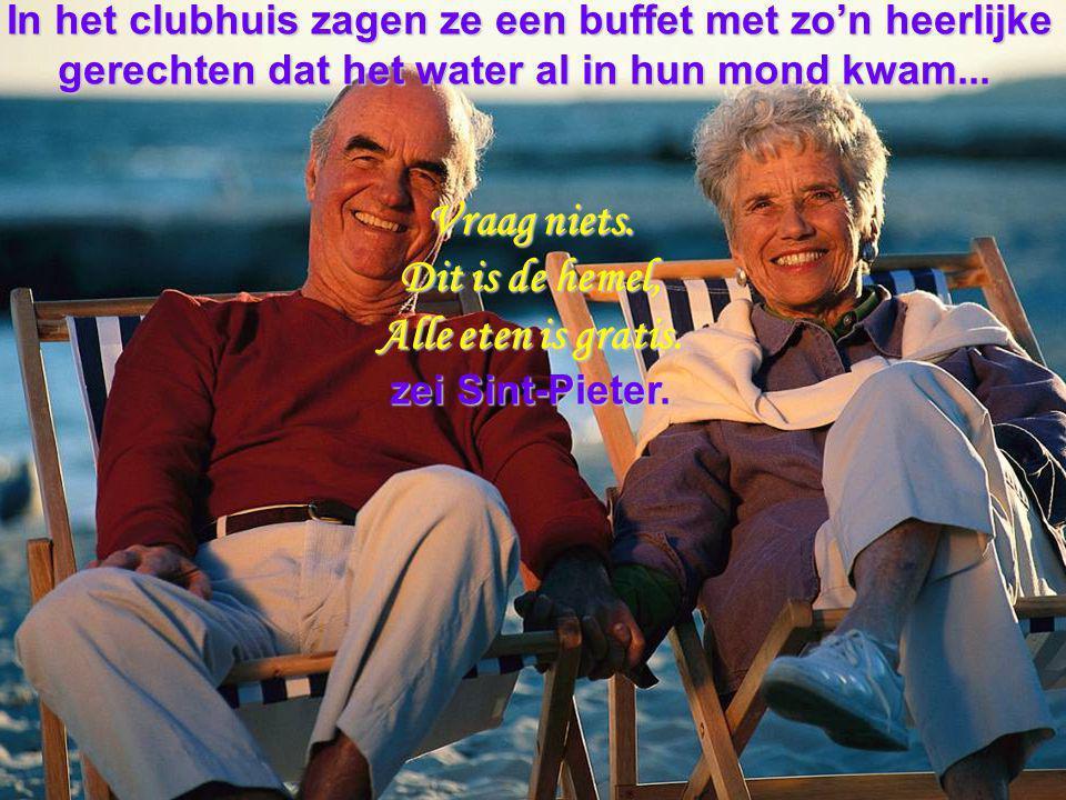 In het clubhuis zagen ze een buffet met zo'n heerlijke gerechten dat het water al in hun mond kwam...