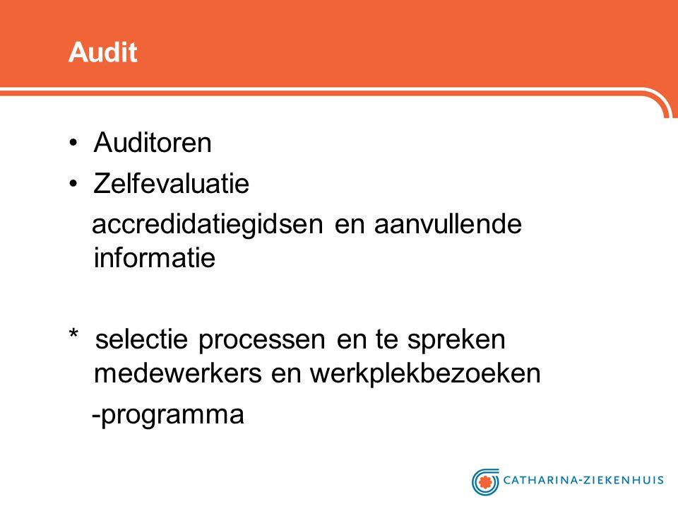 Audit •Auditoren •Zelfevaluatie accredidatiegidsen en aanvullende informatie * selectie processen en te spreken medewerkers en werkplekbezoeken -progr