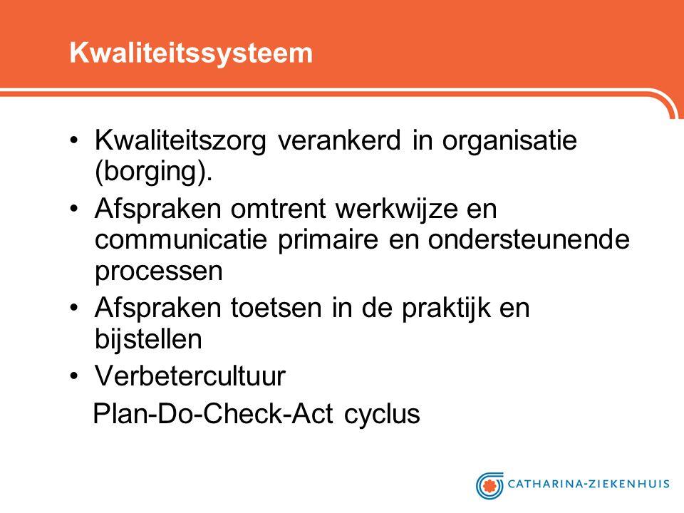 Kwaliteitssysteem •Kwaliteitszorg verankerd in organisatie (borging). •Afspraken omtrent werkwijze en communicatie primaire en ondersteunende processe