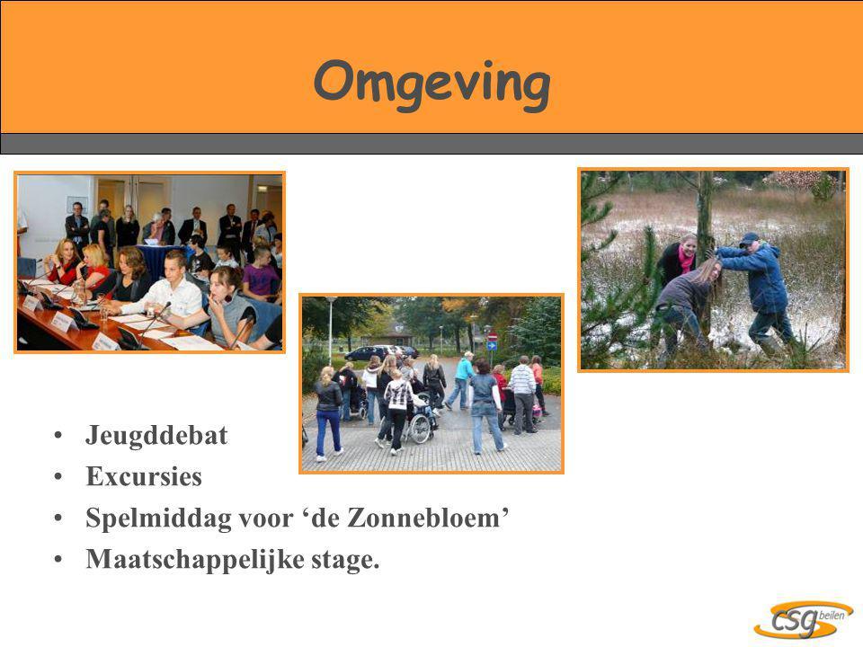 Omgeving •Jeugddebat •Excursies •Spelmiddag voor 'de Zonnebloem' •Maatschappelijke stage.