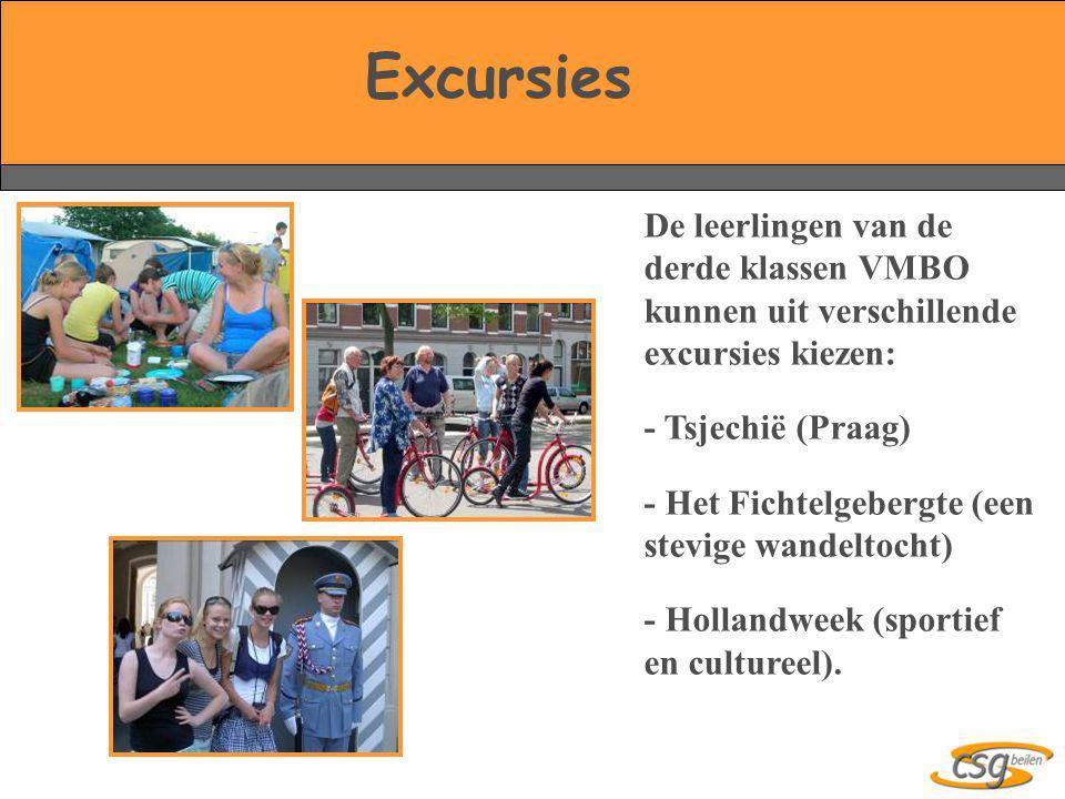 De leerlingen van de derde klassen VMBO kunnen uit verschillende excursies kiezen: - Tsjechië (Praag) - Het Fichtelgebergte (een stevige wandeltocht)